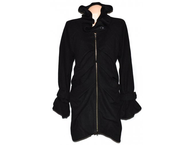Vlněný dámský černý kabát XL