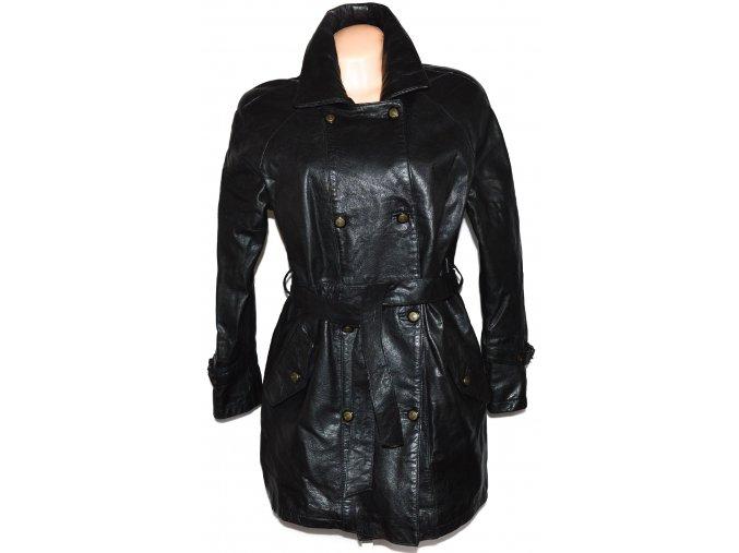 KOŽENÝ dámský černý kabát s páskem L, XXL+