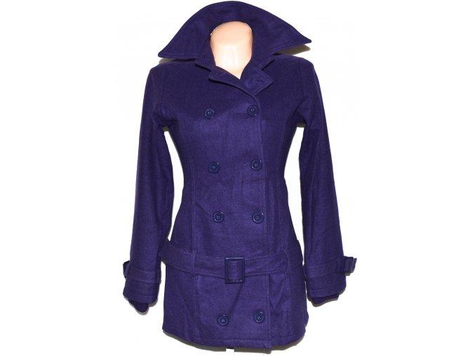 Vlněný dámský fialový kabát s páskem Ichi 3