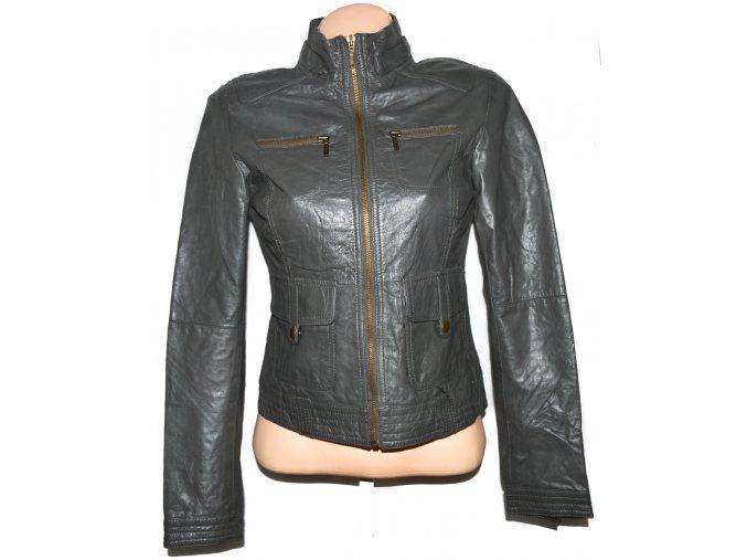KOŽENÁ dámská šedá měkká bunda na zip S