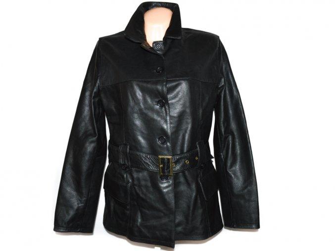 KOŽENÝ dámský černý měkký kabát s páskem Philip Russel XXL