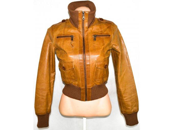 KOŽENÁ dámská hnědá bunda na zip TOM WOLFE UK 8