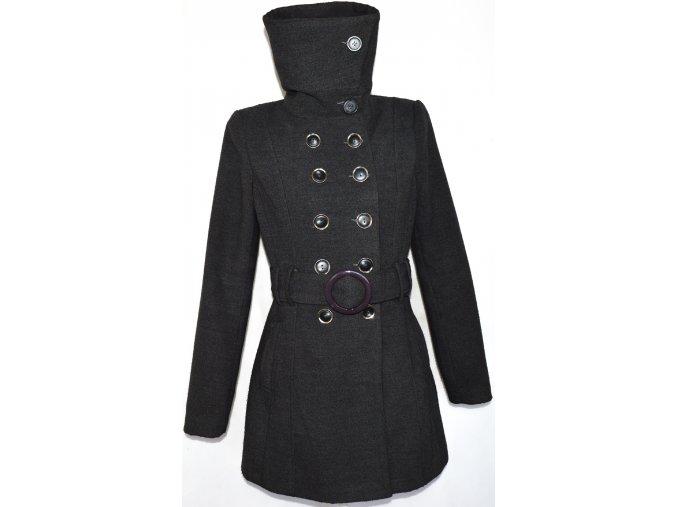 Dámský šedý kabát s páskem, límcem UK 14/ L