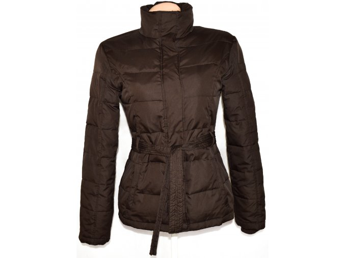 Dámský hnědý šusťákový kabát na zip s páskem vel. S