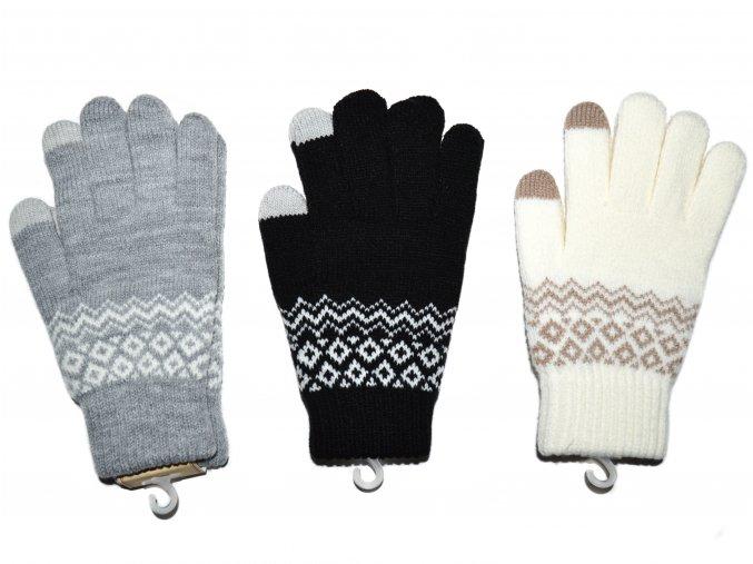 Dámské teplé rukavice se vzorem, s dotykem na mobil - více barev