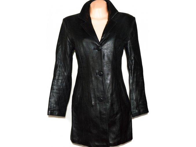 KOŽENÝ dámský černý měkký kabát s odnimatelnou vložkou M