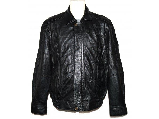 KOŽENÁ pánská černá měkká zateplená bunda na zip Mondana