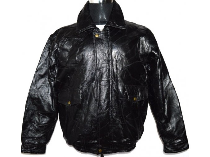 KOŽENÁ pánská černá retro bunda/ pilotka L