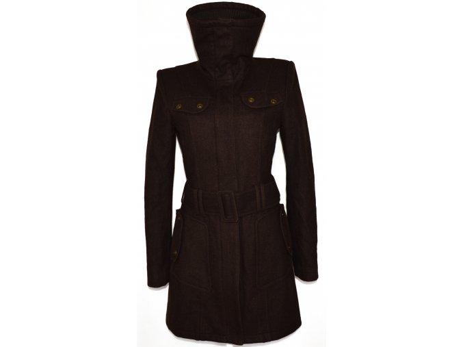 Vlněný dámský hnědý kabát na zip s páskem URBAN L