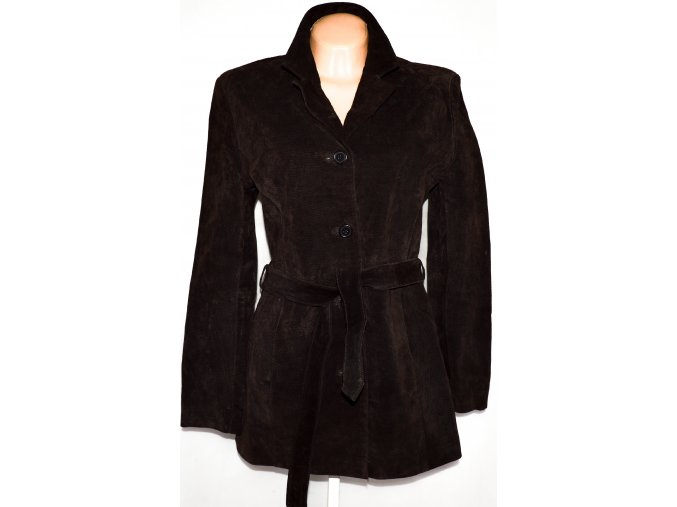 KOŽENÝ dámský hnědý broušený kabát s páskem ZERO UK 14
