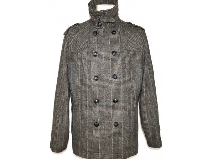 Vlněný pánský šedohnědý kabát GATE XL