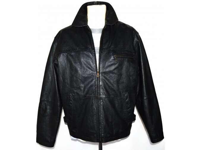 KOŽENÁ pánská černá bunda na zip ARMANDO CASUAL L