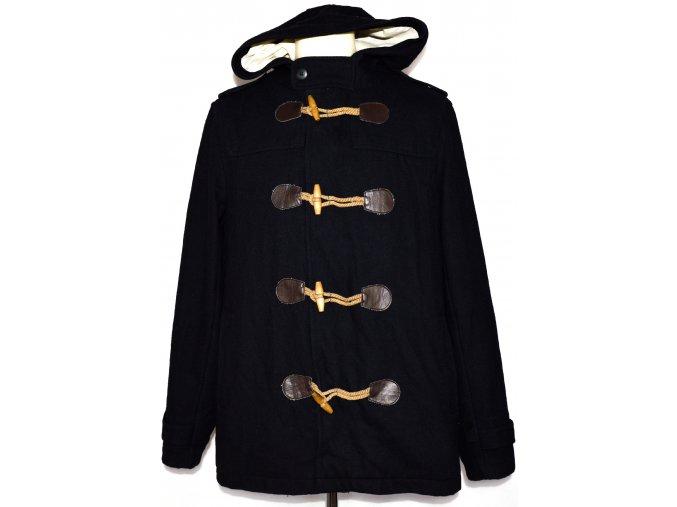 Vlněný pánský modrý kabát na cvoky a vidlice M