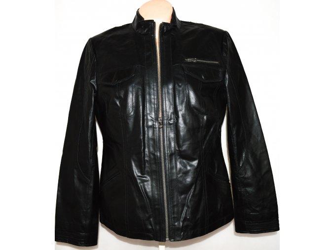 KOŽENÁ dámská černá bunda na zip BASIC LINE L