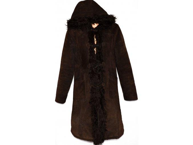 KOŽENÝ dámský hnědý kabát na vidlice BEN SHERMAN L