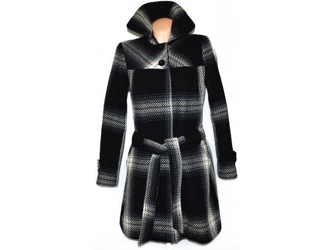 Dámský černobílý kabát s páskem PROMOD XL