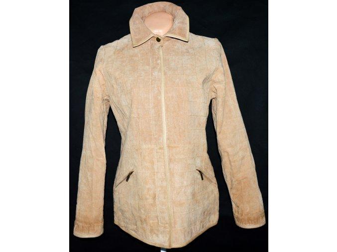 KOŽENÁ dámská broušená prošívaná béžová bunda DENVER L