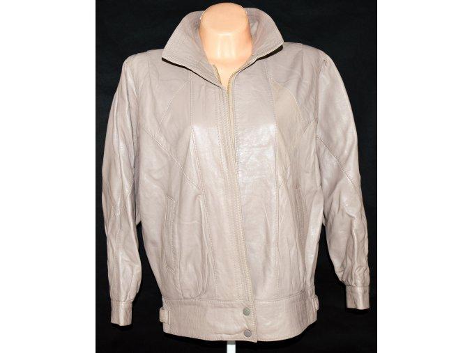 KOŽENÁ dámská měkká béžová bunda na zip vel. L