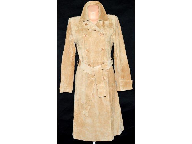 KOŽENÝ dámský broušený dlouhý hnědý kabát Keenan Leather L