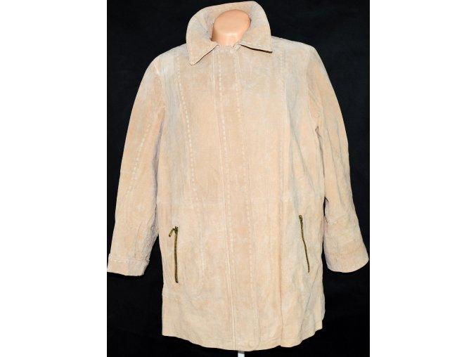 KOŽENÁ dámská broušená béžová bunda na zip UK 18/XXL