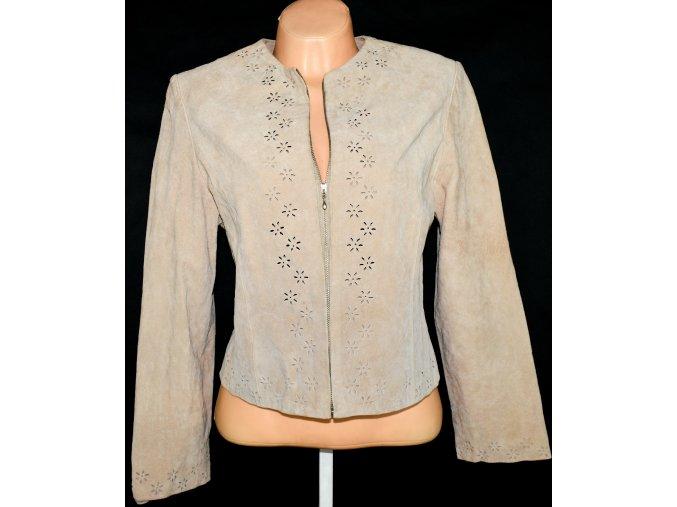 KOŽENÁ dámská broušená béžová bunda na zip EVIE vel. L