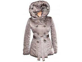 Dámský hnědý šusťákový kabát s páskem a límcem ORSAY M