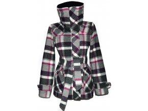 Dámský kostkovaný kabát s páskem L