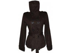 Vlněný dámský hnědý kabát s páskem Evie 46