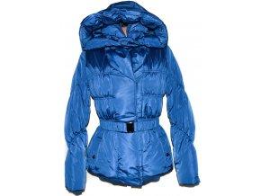 Dámský modrý šusťákový kabát s páskem a kapucí L 862aecdeedb