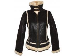 KOŽENÁ dámská hnědá bunda s beránkem Kenvelo M