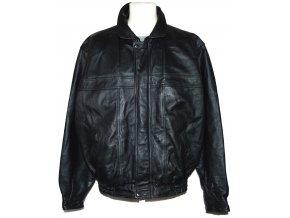 KOŽENÁ pánská černá zateplená bunda na zip Savatini XL