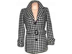 Vlněný dámský hnědý kabát s páskem - kohoutí stopa L
