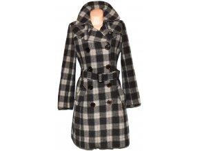 Dámský hnědý kostkovaný kabát s páskem Kenvelo S, L