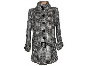 Vlněný dámský černobílý kabát s páskem Debenhams XL
