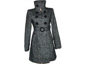Vlněný dámský šedočerný kabát s páskem S