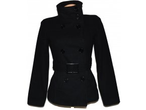 Vlněný (80%) dámský černý kabát s páskem PIMKIE XS