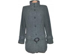 Vlněný dámský šedý kabát s páskem Bodyflirt XXL