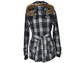 Vlněný dámský šedý kabát s páskem a kapucí Henleys XL