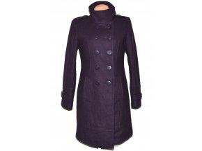 Vlněný dámský fialový dlouhý kabát 38
