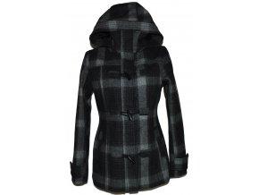 Vlněný dámský šedočerný zateplený kabát s kapucí H&M 36