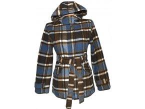 Dámský kostkovaný zateplený kabát s páskem a kapucí PAPAYA L
