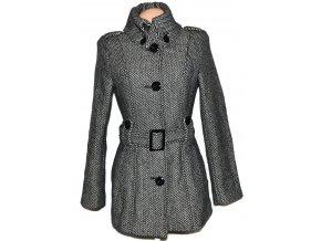 Vlněný dámský černobílý kabát s páskem AMISU