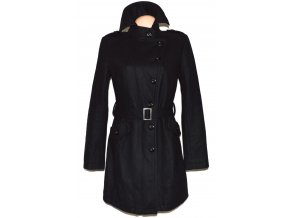 Vlněný dámský černý kabát s páskem AMISU M, L