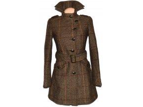 Vlněný dámský hnědý kabát s páskem AMISU XS