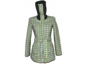 Dámský zelený kabát s páskem - kohoutí stopa S