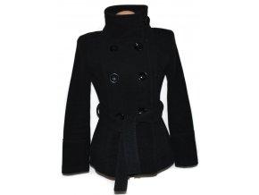 Vlněný (80%) dámský šedý kabát s páskem ZARA XL