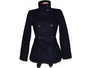 Vlněný dámský tmavě modrý kabát s páskem M