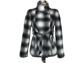 Vlněný dámský kostkovaný kabát s páskem Et Vous S