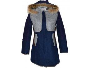 Dámský zateplený modrý kabát s kapucí Donemeto S
