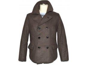 Vlněný pánský hnědý zateplený kabát H&M S